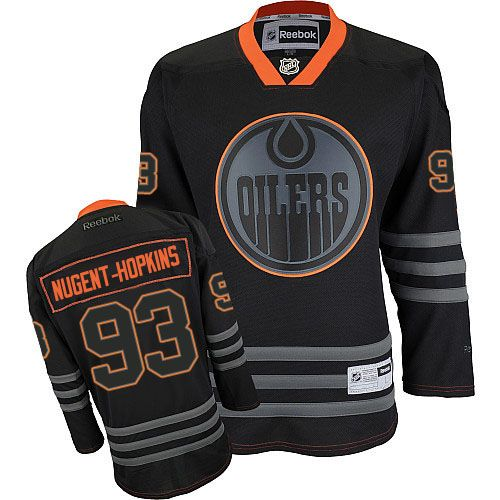 Mens Reebok Edmonton Oilers 93 Ryan Nugent-Hopkins Premier Black Ice NHL  Jersey 7ea8b571e