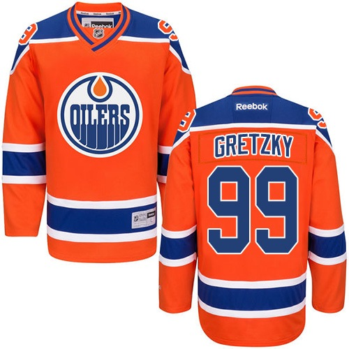 Mens Reebok Edmonton Oilers 99 Wayne Gretzky Authentic Orange Third NHL Jersey